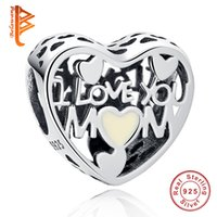 Wholesale Making Love - BELAWANG Best Gift For Mother's Day 925 Sterling Silver Enamel Heart Shape Charm Beads fit Pandora Charm Bracelet&Necklace Jewelry Making