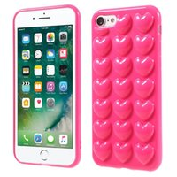 Wholesale Love Heart Phone Cases - 3D Peach Love Heart Case For iphone 7 Plus Soft Silicone Jelly Phone Cover for 6 6s Plus Cute Back Shell with Lanyard Hang Rope NEW Arrival