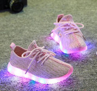 kızlar sonbahar botları toptan satış-2017 ilkbahar Sonbahar Çocuk Bebek Kız trainer çocuk tenis LED Işık Ayakkabı Toddler Kaymaz Spor Çizmeler Çocuk Sneakers Çocuk Karikatür Daireler