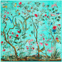 Wholesale Twill Silk Scarf Blue - New Fashion Silk Scarf For Women Floral Birds Print Big Square Shawl Ladies Twill Silk Luxury Hijab 130*130cm Female Foulard Poncho Bandanas