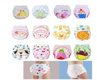 Wholesale toddlers diapers waterproof baby pants resale online - 3 layers cartoon baby training pants waterproof diaper pant potty toddler panties newborn underwear Reusable training pants designs