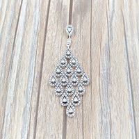 Wholesale cz solitaire pendant for sale - Group buy New Silver Beads Cascading Glamour Necklace Pendant Clear Cz Necklace Fits European Pandora Style Jewelry Charms Beads CZ