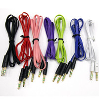 Wholesale Mobile Music Phones - Noodles Audio Cables Colorful Male to Male 3.5mm Stereo Extended Aux Cable for Mobile Phone Music MP3