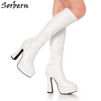 imagem de couro venda por atacado-2018 Mulheres Botas De Couro De Patente Plus Size Bota Real Imagem Cor Bota Feminina Sexy Sapatos de Festa Bota Venda Quente