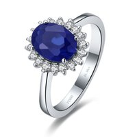 Wholesale Genuine Sapphire Jewelry - 1Ct Round Cut Synthetic Sapphire Wedding Ring for Women Genuine 925 Sterling Silver Jewelry White Gold Plated Promise Ring for Her