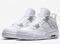 Wholesale Box 4s - New Retro 4 Pure Money Basketball Shoes Men 4s Pure Money White And Silver Athletics Sneakers With Shoes Box