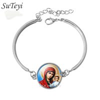 Wholesale Mary Heart - Fashion 2017 Classic bracelet Virgin Mary Sacred Heart Religious Art bracelets Jesus traditional catholic faith jewelry gifts