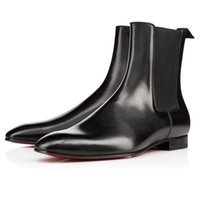 Wholesale Black Over Knee Boots Buckles - Autumn Winter Genuine Leather Roadie Flat Ankle Boots Men's Red Bottom Boots Square Toe Slip On Walking Perfect Luxury Party Dress Shoes