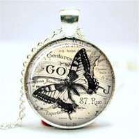 Wholesale american drew - 10pcs lot Butterfly Ephemera Sketch Drawing Vintage Glass Necklace