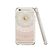 Wholesale Iphone 5s Cases Draw - For Iphone 7 plus TPU Mandala Flower Drawing Pattern Clear Phone Case Cover For Iphone 6s 6 plus 5 5s SE Opp Bag