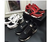 Wholesale Hip Hop Shoes For Men - 2017 New Luxury Brand high quality Men Shoes Genuine Leather Skull Hip Hop Men Casual Shoes Size Shoes For Men Black White Red38-45