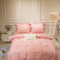 Wholesale Comforter King Set Simple - Spring bamboo cotton quilt 4pcs sets of language embroidery cotton simple European style garden Princess wind embroidered bedding