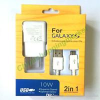 галактика s5 зарядное устройство док-станции оптовых-Быстрая зарядка Топ 2 в 1 ЕС США Plug Адаптивное зарядное устройство USB 2.0 кабель синхронизации данных для Samsung Galaxy S4 S5 S6 S7 край Примечание Android