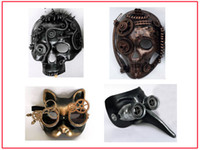 Wholesale Masquerade Mask Nose - STEAMPUNK MASKS , CAT MASKS,LONG NOSE MASK, ELEMENTS WITH SCISSORS MASQUERADE AND PARTY STEAMPUNK MASKS,4 BEAUTIFULSTYLES ASSORTED,1LOT=4PCS