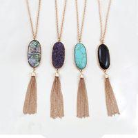 Wholesale Statement Long Necklace - Natural Stone Druzy Pendant Necklaces Long Tassel Statement Necklace