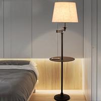 siyah ledli masa lambası toptan satış-Yeni Siyah Ferforje rocker zemin lambası LED enerji tasarruflu lamba oturma odası yatak odası başucu zemin lambası Amerikan zemin lambaları çay masa ışık