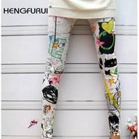 Wholesale Seamless Sexy Leggings - Wholesale- HENGFURUI Sexy Slim Leggings Women Printed Leggings 2017 New Fahsion Winter Color Iink Painting Graffiti Seamless Nine Pants
