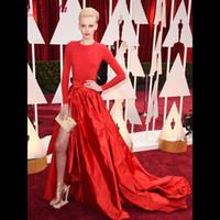 yarık tafta toptan satış-Moda Kırmızı Tafta Abiye Jewel Boyun Çizgisi ile Uzun Kollu Yan Yarık Akşam Parti Elbise Örgün Ünlü Elbiseleri