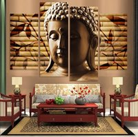 Wholesale Canvas Painting High Quality Hand painted Art Religion Buddha set Wall Oil Painting On Canvas Unframed