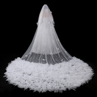 Wholesale Collections Photos - 2017 New Collections Designer Veils for Wedding Real Photos 5 Meters Long White Bridal Veils Ruffles Flowers In Stock Bridal Wedding Veils