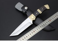Wholesale China Camps - China Small FengXian 5CR13 56HRC copper + black wood handle Tactical Fixed Blade Knife Survival Outdoor Hunting Camping Combat Pocket Knife