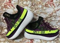 Wholesale Girls Kids Shoes Purple - Infant boost 350 v2 running shoes for kids Kanye Milan boosts black purple green designer Children casual shoes for boy girl