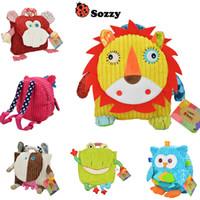 Wholesale Toddler Boy Animal Backpacks - Kids Sozzy Cartoon Animal School Bags Plush Shoulders Backpacks Children Toddler Lovely Bags Gifts Boys Girls Book Snacks Bags