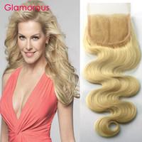 Wholesale Top Piece Hair Blonde - Glamorous Human Hair Top Lace Closures 4x4 Blonde Hair Closures Body Wave Straight Peruvian Indian Malaysian Brazilian Human Hair Pieces