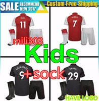 Wholesale Boys Gray Socks - Best quality 17 18 ALEXIS soccer jersey kids boy Kits 2017 2018 WILSHERE GIROUD CHAMBERS OZIL away gray football kid youth sets + socks