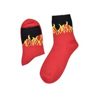 Wholesale good quality suits for men resale online - Pair Unisex Socks Red Flame Personality Street Good Elasticity Suit For Men Women Short Socks High Quality Cotton Crew Sock