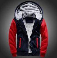 Wholesale Thick Wool Winter Jackets - S22-S30 USA SIZE 2016 Men Winter Autumn Hoodies Blank pattern Fleece Coat Baseball Uniform Sportswear Jacket wool make to order designs