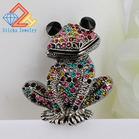 Wholesale Mixed Jewelry Brooches - Sticks Jewelry Cute Animal Brooch Mixed Color Rhinestone Wedding Brooch Female Frog Fashion Jewelry Good Gift