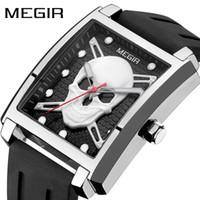 Wholesale Square Silicon Watches - Hotsale top brand quartz movement fashion men wristwatch square skeleton luminous watch silicon band waterproof halloween gift free shipping