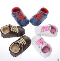 Wholesale Leather Loafers Toddlers - Baby toddler girls boys loafers soft faux leather flat bottom lace-up crib shoes fashion Infant kids non-slip outdoor casual shoe T4491