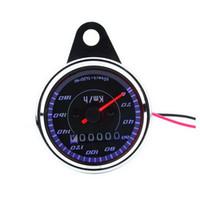 universelle tachometerlehren groihandel-Motorrad Tachometer Doppelte Farbe LED-Licht Universal Kilometerzähler Manometer Meilen Für Motorrad