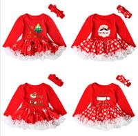 Wholesale Toddler Lace Romper Dresses - Infant Baby Girls Flower Romper Dresses Toddler Princess Dots Jumpsuits Babies Autumn Lace Romper 2017 Bebe Christmas clothing