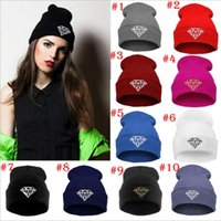 Wholesale Diamond Beanies Wholesale - 8 Colors Winter Hat Cap Beanie Wool Knitted Men Women Caps Hats Diamond Embroidery Skullies Warm Beanies For Men And Women YYA350
