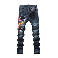 Wholesale Male Night - Wholesale- 2016 Spring New Star same brand Male Club Night Denim Pants Men's Slim straight pants personalized Phoenix embroidery Jeans