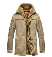 relógios de pulso venda por atacado-Assistir ! New men's winter warm de alta qualidade clássica casual luxo famoso espessar longo casaco de couro de pele roupas de revestimento da força aérea