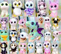 ingrosso grandi giocattoli animali-Ty Beanie Boos Giocattoli di peluche Bambole TY Big Eye Animals Orso Coniglio Pinguino Morbido Peluche Piccoli bambini Peluche Regali