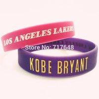 Wholesale Pink Wrist Cuffs - Wholesale- Kobe Bryant wristband silicone bracelets hot pink purple rubber cuff wrist bands bangle free shipping