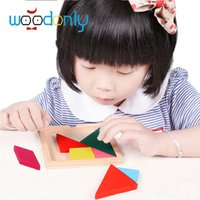 Wholesale Tangram Puzzle Jigsaw - Wholesale-Wooden Tangram Jigsaw Puzzle Delicate Children Toy Geometry Hot Sell Development Jigsaw Puzzle Educational Toys for Kids oyuncak
