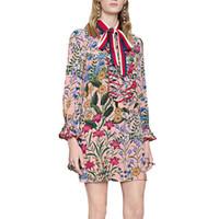 Wholesale Luxurious Chiffon Dress - party dresses Chiffon 2017 Fashion Light New flora print women dresses luxurious brand long ruffles sleeve mini elegant vestidos