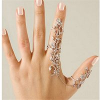 Wholesale Double Finger Chain Rings - Fashion Accessories Chain Link Ring Full Rhinestone Vintage Flower Double Finger Rings For Women Girl Gift Party Wedding Jewelry