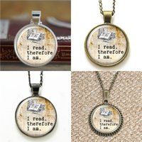 Wholesale Read Bookmarks - 10pcs Teacher i read therefore i am Necklace keyring bookmark cufflink earring bracelet