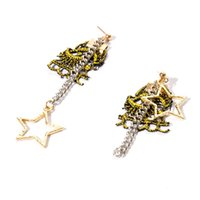 Wholesale Lace Stamps - Hot Stamping Lace Stud Earrings Fashion Statement Jewelry Geometric Star Long Earring For Women Dangle Drop Earrings Wholesale