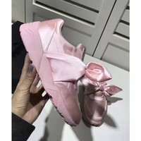 Wholesale Round Box Bow - 2017 new hot fenty X silk bow shoes BOW powder pink  green Rihanna Silk casual shoes with box and box free shipping 36-40