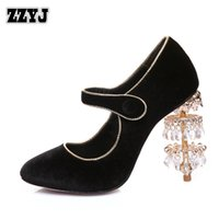 Wholesale Sweet Mary Janes - ZZYJ large size women's high heels sexy crystal tassel heel ladies sweet luxury banquet mary janes pumps shoes for female C8281
