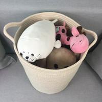 Wholesale Fabric Basket Weaving - Cotton Rope Woven Storage Baskets with Handles Clothes Hamper Toys Nursery Bins Closet Organization Kid's room storage( Beige)
