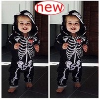 16fd0943c35b INS Spring Baby Skull Hooded Rompers Jumpsuits Infant Halloween Clothes  Fall Autumn Skull Arrow print Long Sleeve Jumpsuit Newborn Onesie